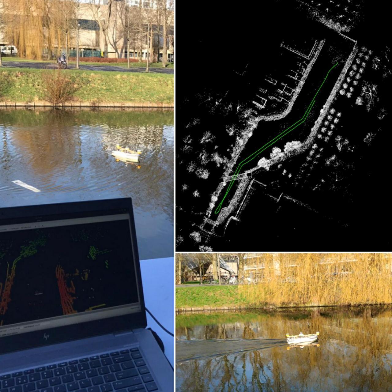 Een drone die op het water vaart, vanaf computer zie je informatie