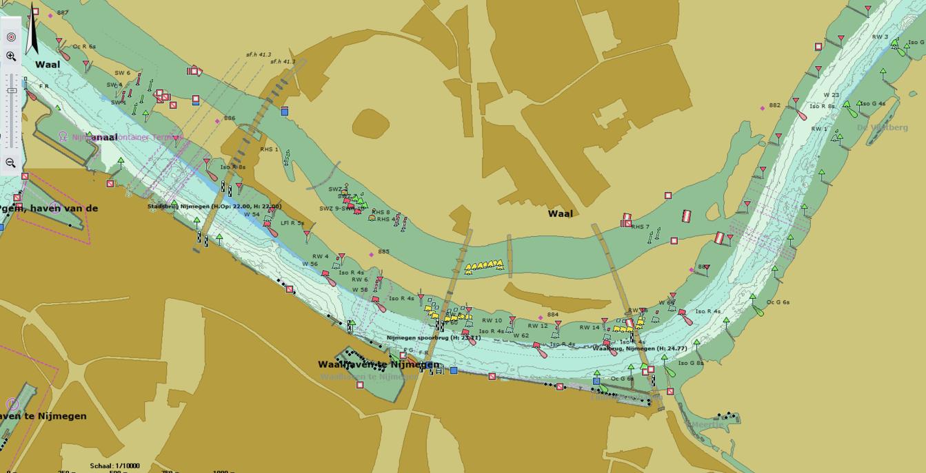 Actuele waterdiepte zichtbaar in Inland ECDIS viewer
