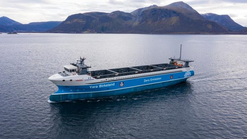 Autonoom schip Yara Birkeland klaar voor testvaarten